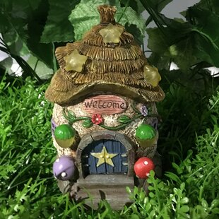 Fairy Garden House With Thatched Roof And Stars   Solar LED Lights Statue