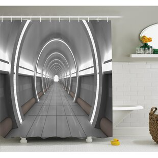 Outer Space Galactic Place With Oval Shaped Ceiling Force Alien Life Apollo Comics Graphic Shower Curtain Set