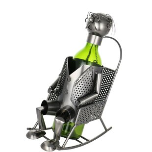 Grandpa on Rocking Chair Metal Holder 1 Bottle Tabletop Wine Rack