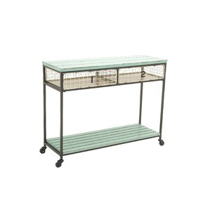 metal wood storage console table