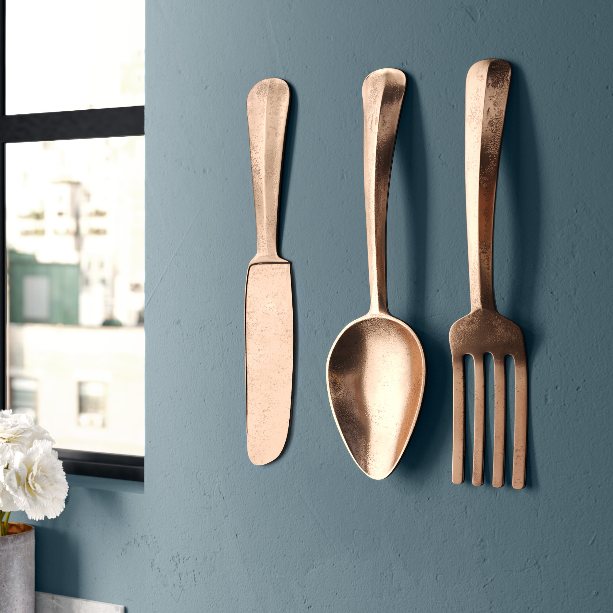 Fork And Spoon Wall Hanging Antique White Or Pick Your Color Rustic Kitchen Wall Decor Cast Iron Wall Decor Oversized Utensils Decor