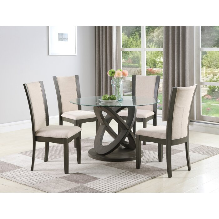 Cicicol 5 Piece Glass Top Dining Table With Chairs, Grey