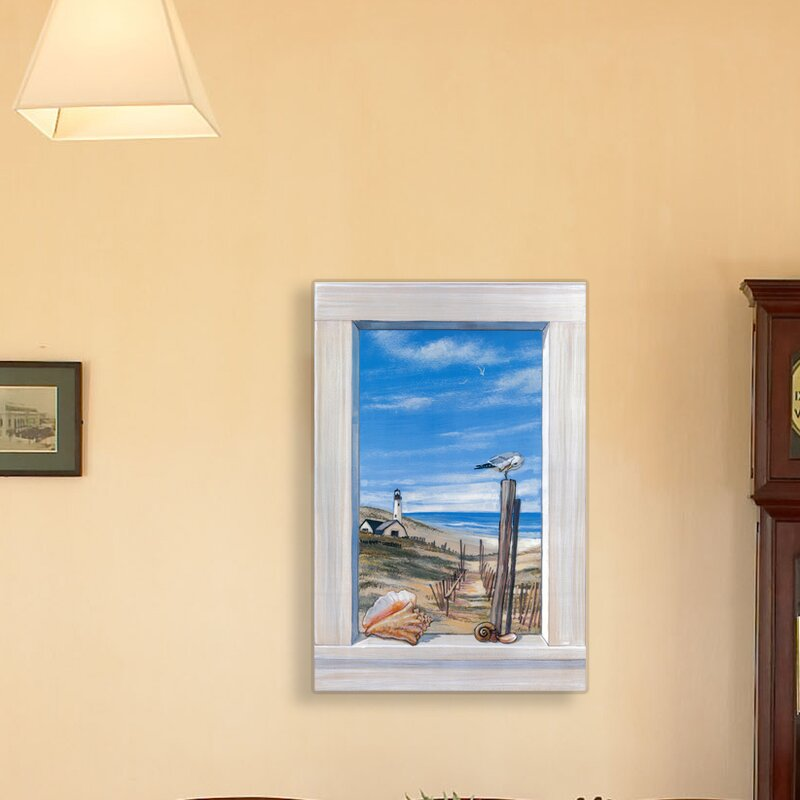 Stupell Industries Ocean with Seagulls Faux Window Scene Painting ...