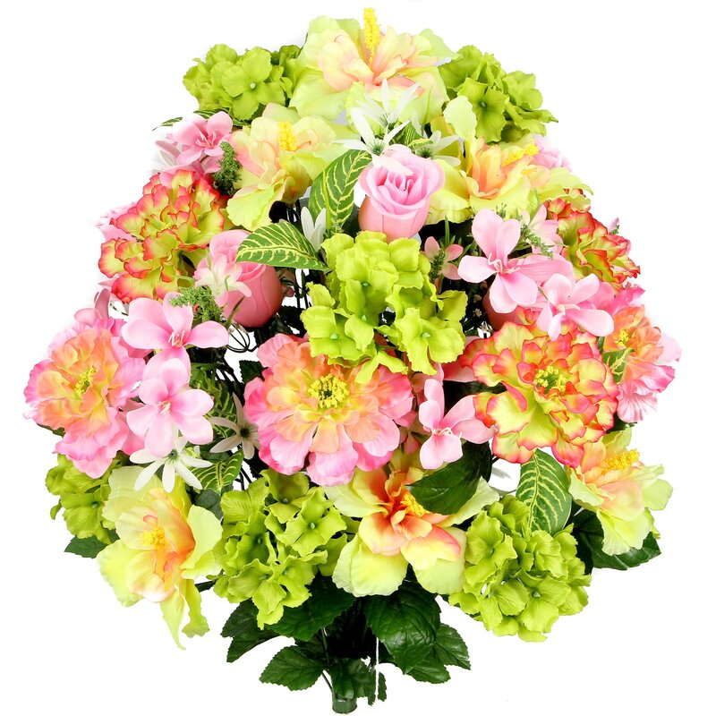 August Grove 36 Stems Artificial Hibiscus Rosebud Freesias And