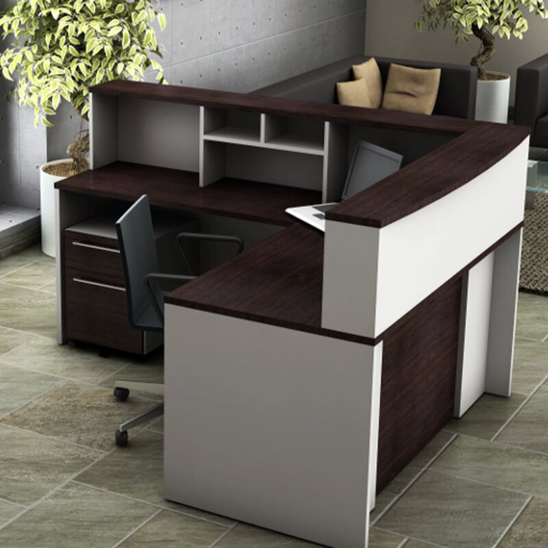 Modular Kenya Project Simple L Shaped Small Kitchen: OfisLite 5 Piece L-Shape Reception Desk Suite Set