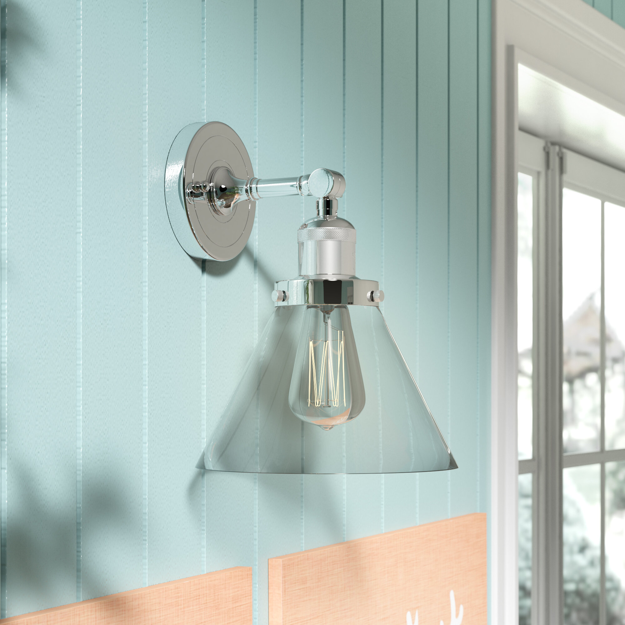 Beachcrest Home Ortakoy Glass Cone 1-Light Armed Sconce & Reviews ...