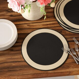 Algrange Woven Border Placemat (Set of 6) & Polypropylene Dinnerware | Wayfair