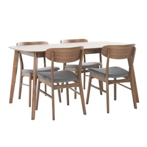 Upholstered Chairs Dining Room upholstered chairs reclaimed wood table harriethouseinspiration for the home pinterest wood table dining and room Feldmann 5 Piece Dining Set