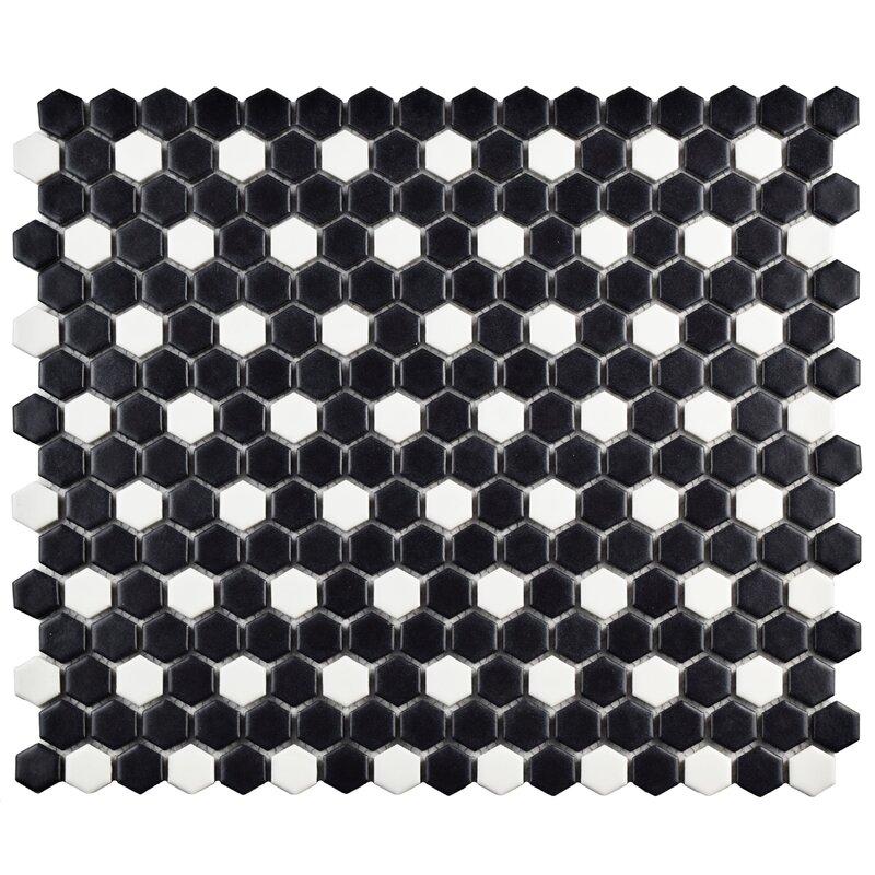 Interior Black And White Mosaic Tile elitetile retro 0 75 x porcelain mosaic tile in matte black blackwhite