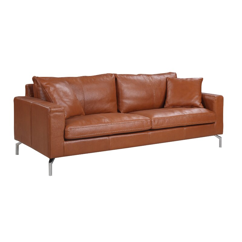 Orren Ellis Nyyear Mid Century Modern Plush Top Grain Leather Sofa ...