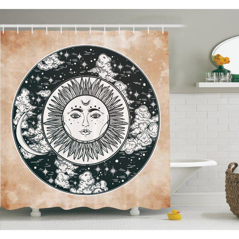 Ethnic Sun Face Moon Shower Curtain Set