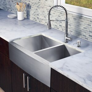VIGO 33 inch Farmhouse Apron 60/40 Double Bowl 16 Gauge Stainless Steel Kitchen Sink with Brant Stainless Steel Faucet, Tw...