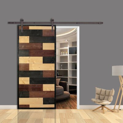 Calhome Mosaic Room Divider Knotty Pine Wood Slab Interior Barn Door