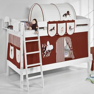 Horses European Single Bunk Bed with Bottom Bunk Curtain by Just Kids