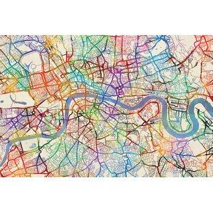 urban rainbow street map series london england united kingdom graphic art on wrapped canvas