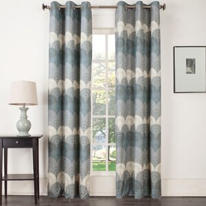 Timothy Medallion Geometric Room Darkening Thermal Grommet Single Curtain Panel