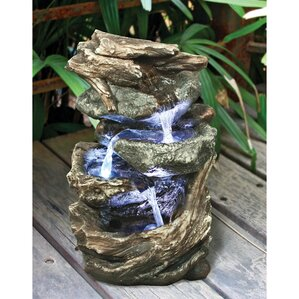 Superb Resin Glacier Peak Cascading Garden Tiered Fountain With LED Light