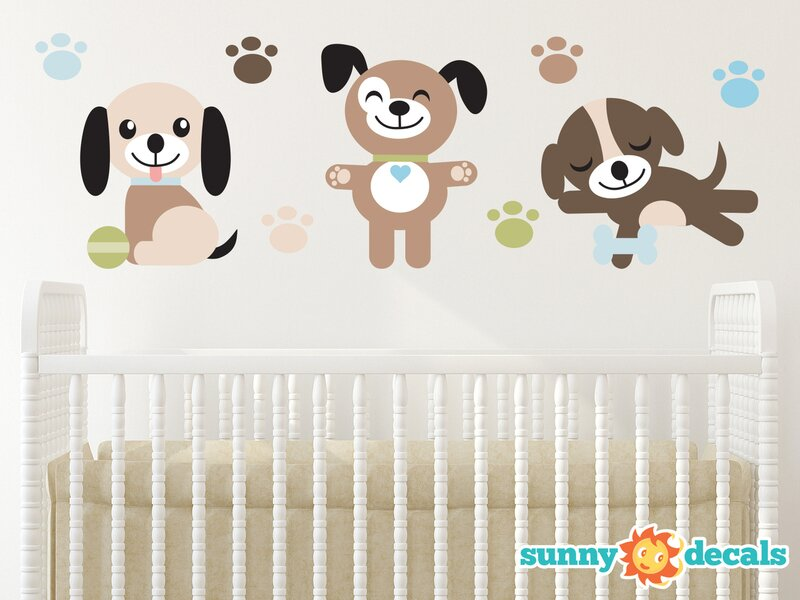 sunny decals adorable puppy dogs fabric wall decal & reviews | wayfair