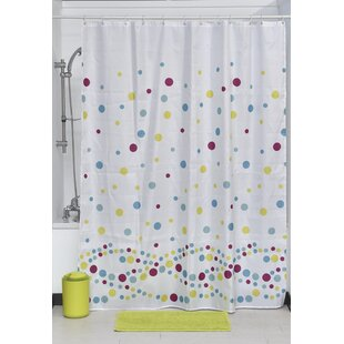 Bubbles Printed Fabric Shower Curtain