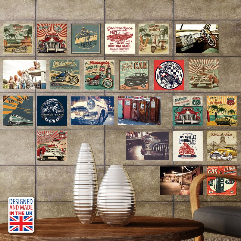 Elvis vintage vehicles collage wall sticker