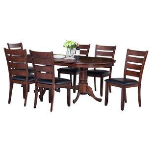 Doretha 7 Piece Solid Wood Dining Set with Curved Back Chair