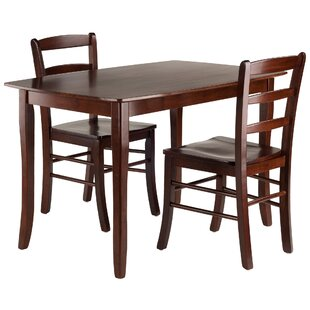 Shuman 3 Piece Solid Wood Dining Set