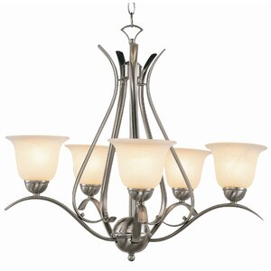 Contemporary 5-Light Shaded Chandelier