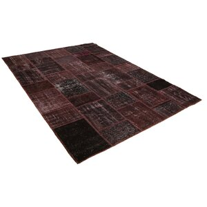 Kayla Patchwork Hand-Knotted Wool Red/Black Area Rug