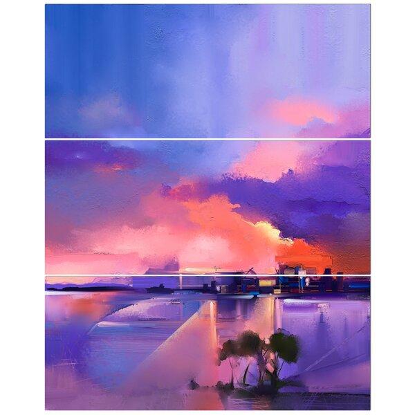 East Urban Home Orange And Purple Sky In Twilight Sunset Oil Painting Print Multi Piece Image On Wred Canvas Wayfair