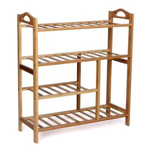 Natural Bamboo 4 Tier Shoe Rack