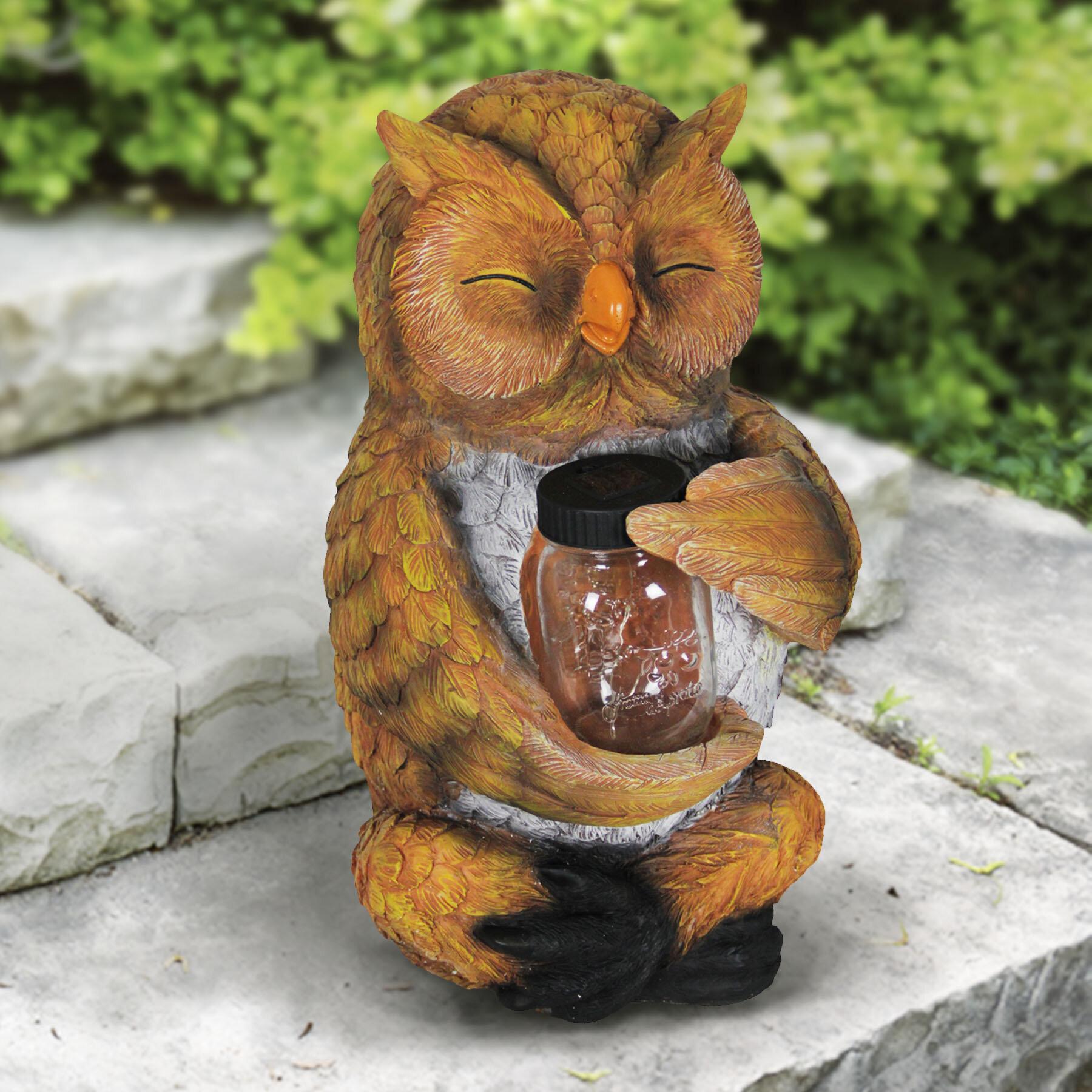August Grove Etherton Solar Owl with Firefly Jar Statue   Wayfair
