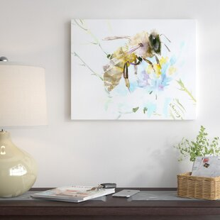 White flower painting wayfair honey bee and white flower painting print on wrapped canvas mightylinksfo