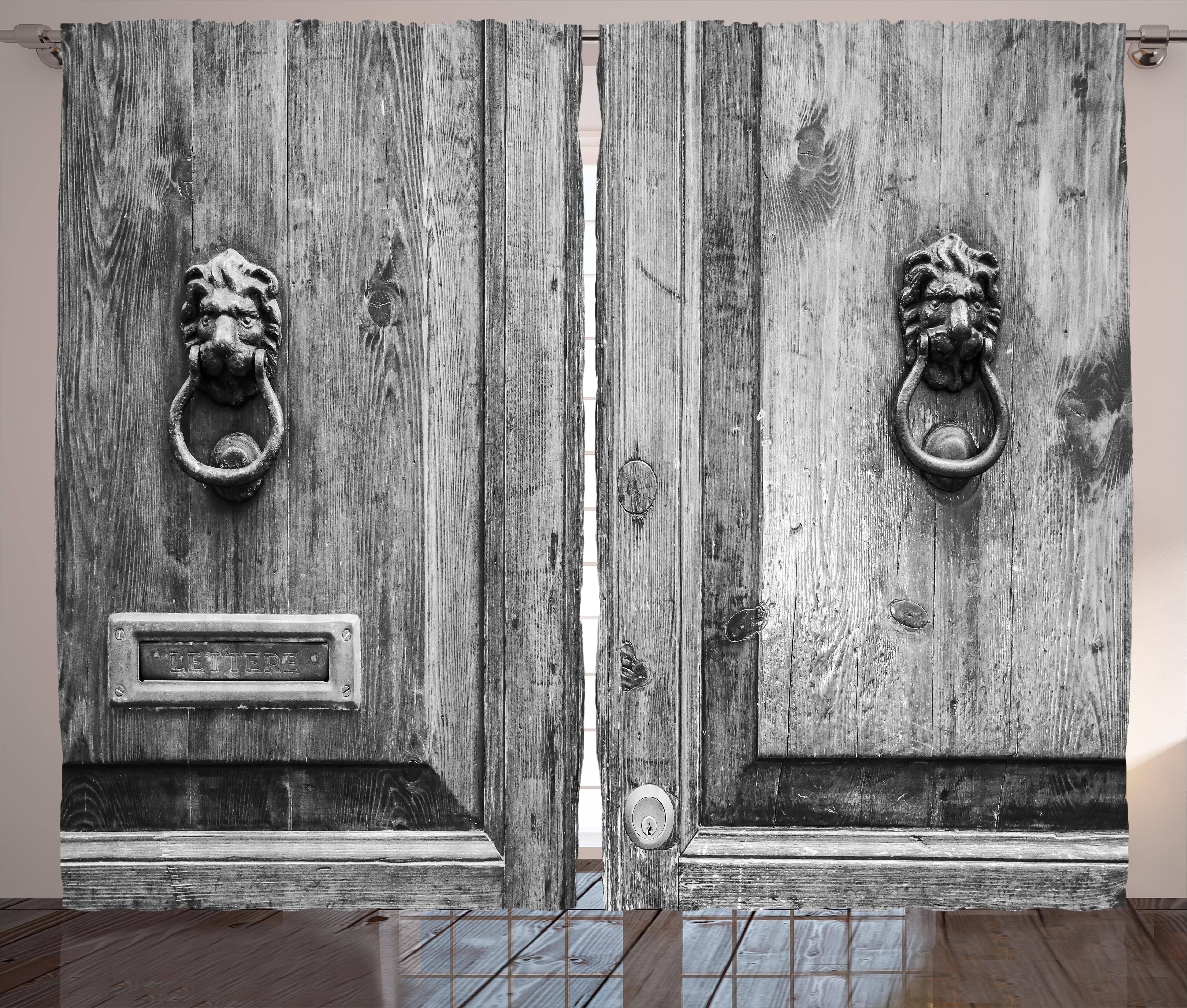East Urban Home Rustic Black and White Photography of Tuscany House Doorway Florence with Lion Head Handlers Graphic Print \u0026 Text Semi-Sheer Rod Pocket ... & East Urban Home Rustic Black and White Photography of Tuscany ...