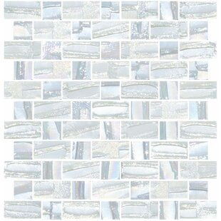 0087a4c3470 Signature Line Recycled Iridescent Glass Mosaic Tile in White Iridescent