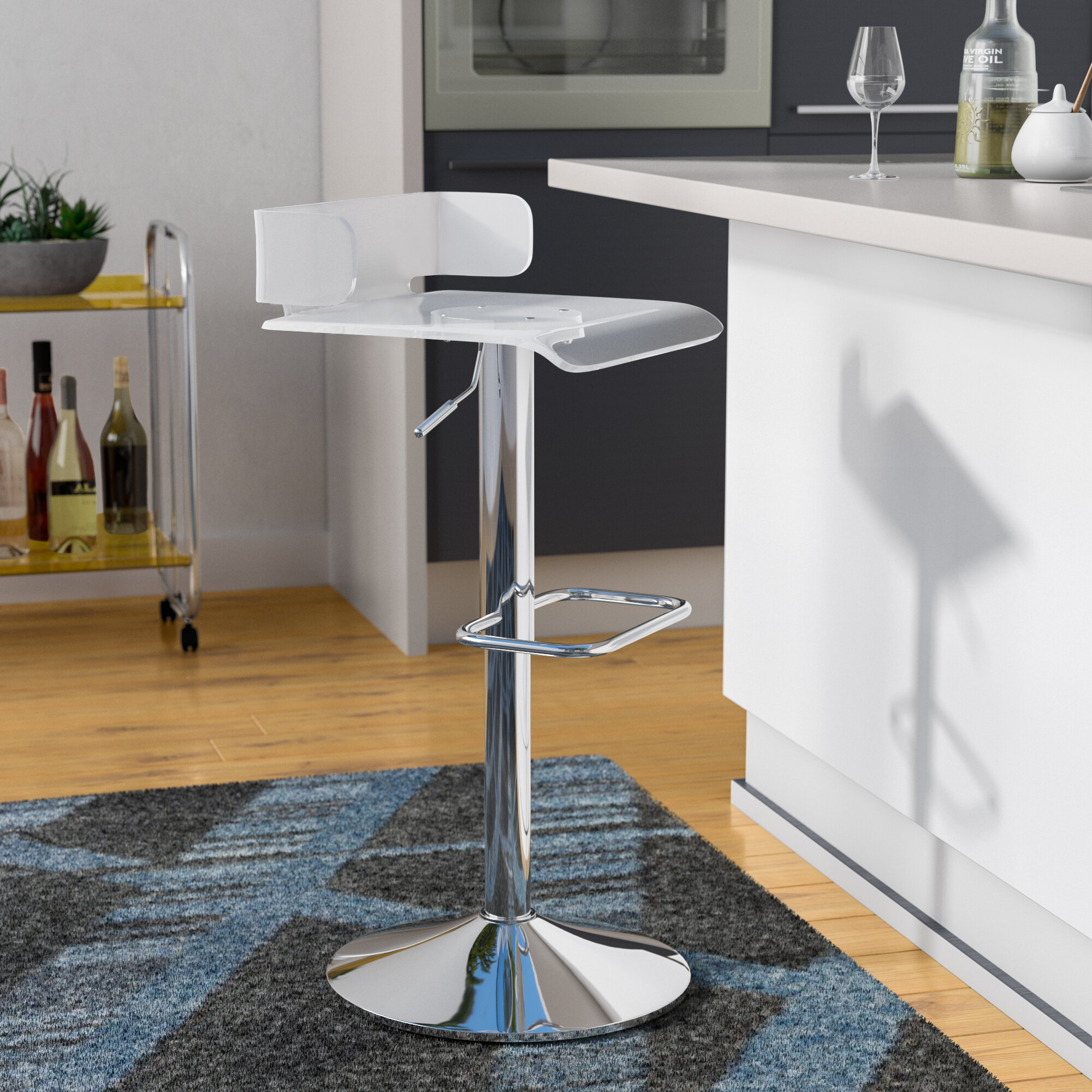 Wade Logan Thatcher Adjustable Height Swivel Contemporary Bar Stool