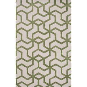 Hyde Wool and Art Silk Hand Tufted Ivory/Green Area Rug