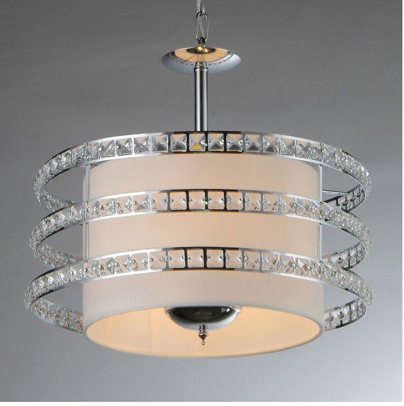 Warehouse Of Tiffany Saturn 3-Light Crystal Drum Pendant