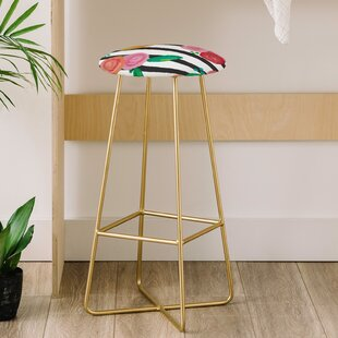 Natalie Baca Stripes and Blooms 31 Bar Stool