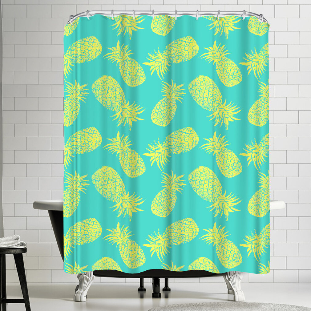 East Urban Home Pineapple Turquoise And Lemon Shower Curtain
