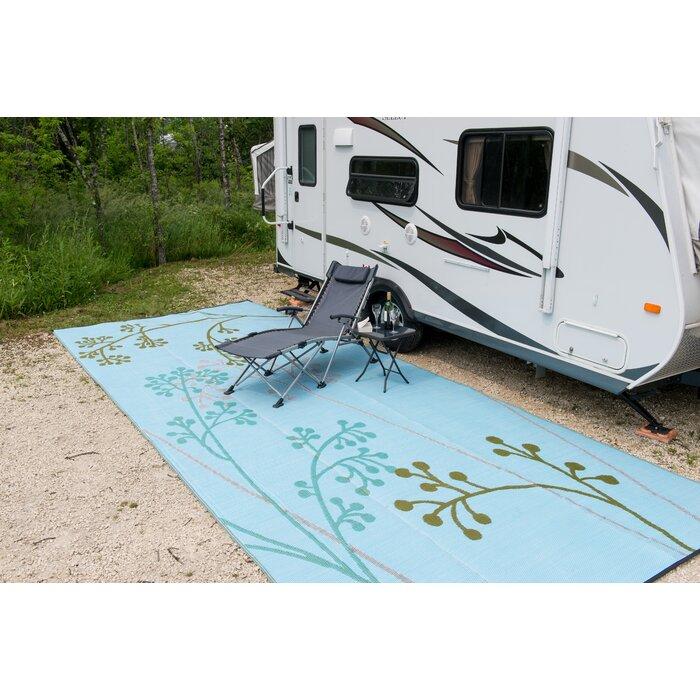 Fernando Reversible Rv Camping Patio Mat In Blue Green Outdoor Area Rug