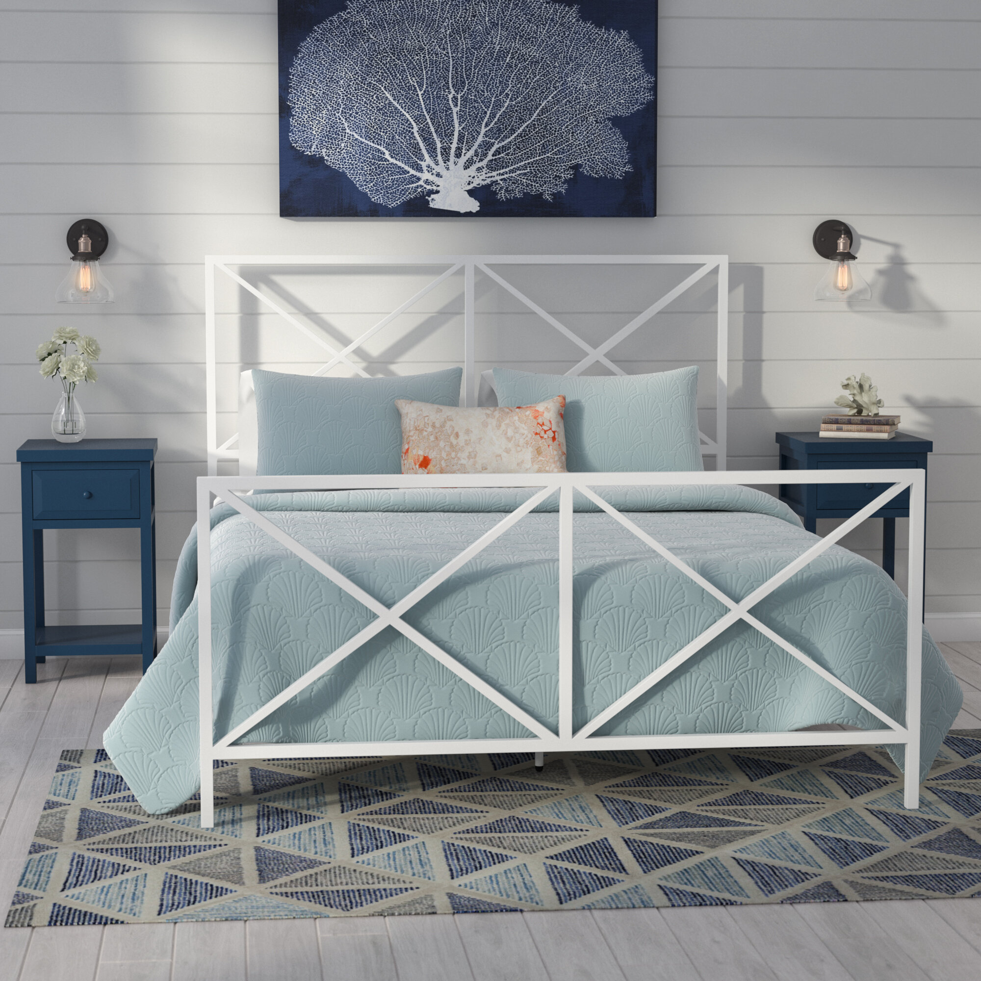 Beachcrest Home Greenlee Queen All In One X Gloss White Metal Bed
