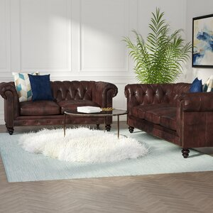 Boronda 2 Piece Leather Living Room Set