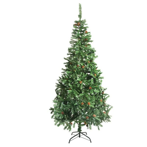 the holiday aisle 9 green pine artificial christmas tree with pine cones and stand reviews wayfair - Christmas Tree With Pine Cones