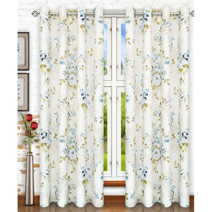 Chatsworth Lined Top Nature Fl Semi Sheer Grommet Single Curtain Panel