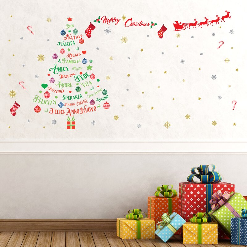 italian quotes christmas decoration wall sticker set - Christmas Decoration Quotes