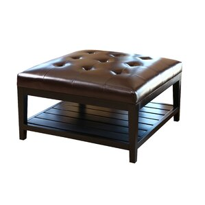 Dunlap Leather Ottoman by ..
