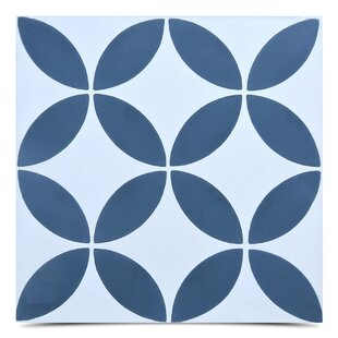Amlo Handmade 8 X Cement Field Tile In Navy Blue White