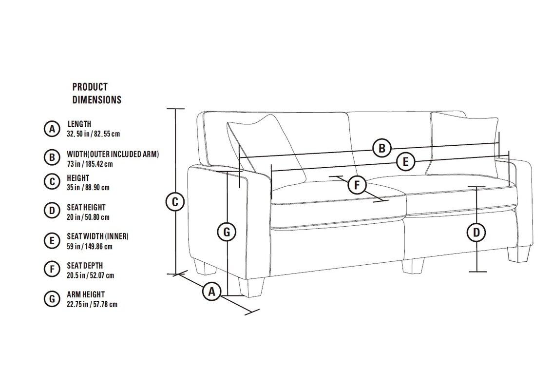 Standard Couch Length Serta At Home Serta Rta Palisades 73