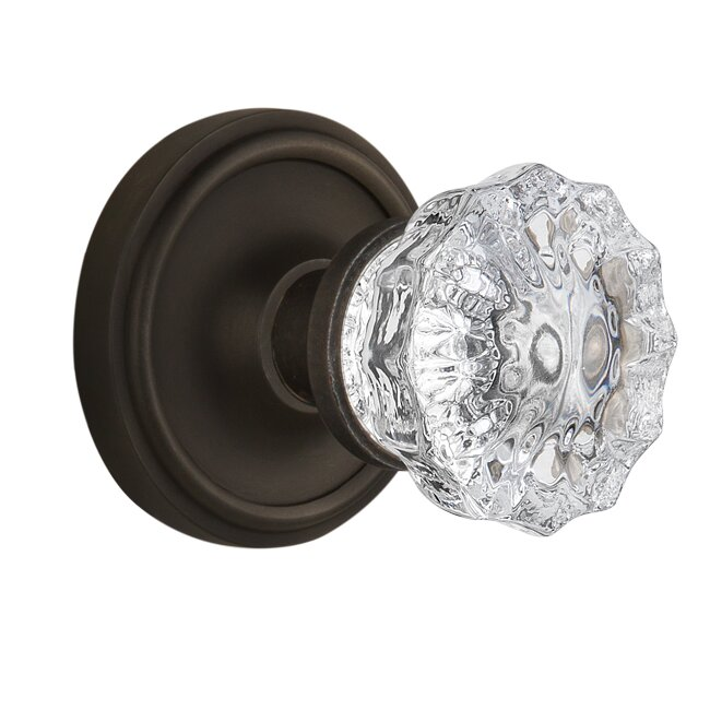 Charming Crystal Glass Privacy Door Knob With Classic Rosette