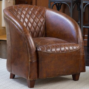 Wilmette Tufted Leather Barrel Chair by Darby Home Co